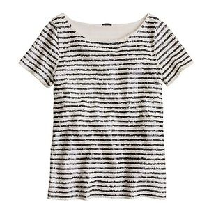 J. Crew sequin stripe tee size medium